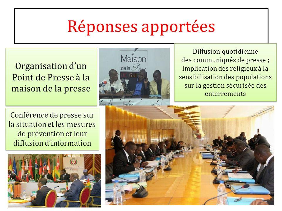 Réponses apportées Organisation dun Point de Presse à la maison de la presse Diffusion quotidienne des communiqués de presse ; Implication des religie