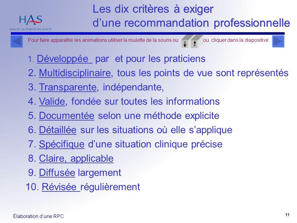 Élaboration dune RPC 11 Les dix critères à exiger dune recommandation professionnelle 1. Développée par et pour les praticiens 2. Multidisciplinaire,