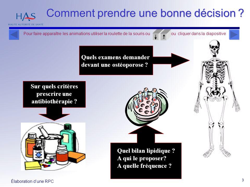 Élaboration dune RPC 4 Une recommandation de pratique clinique doit être : adaptée à la pratique, adoptée par le praticien une aide à la décision, Pour faire apparaître les animations utiliser la roulette de la souris ou ou cliquer dans la diapositive