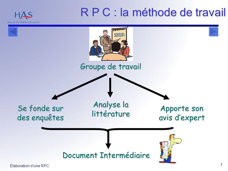Élaboration dune RPC 7 Groupe de travail Se fonde sur des enquêtes Analyse la littérature Apporte son avis dexpert Document Intermédiaire R P C : la m