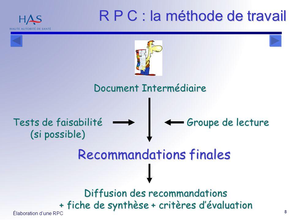 Élaboration dune RPC 8 Document Intermédiaire Tests de faisabilité (si possible) Groupe de lecture Recommandations finales Diffusion des recommandations + fiche de synthèse + critères dévaluation R P C : la méthode de travail