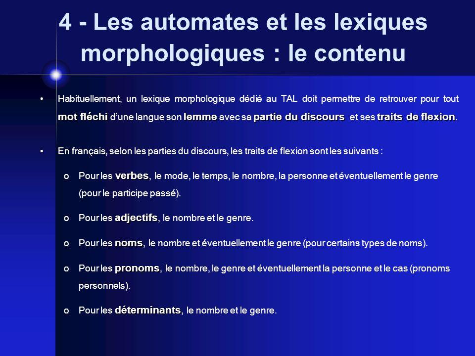 4 - Les automates et les lexiques morphologiques : le contenu mot fléchilemmepartie du discourstraits de flexion Habituellement, un lexique morphologi