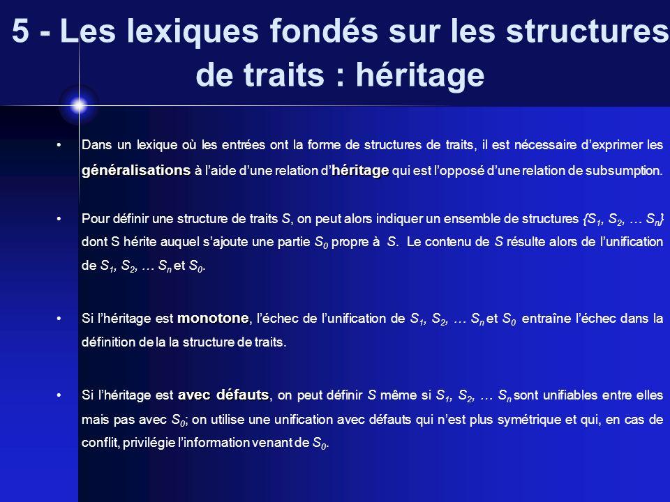 5 - Les lexiques fondés sur les structures de traits : héritage généralisationshéritage Dans un lexique où les entrées ont la forme de structures de t