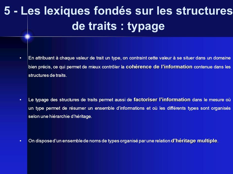 5 - Les lexiques fondés sur les structures de traits : typage cohérence de linformation En attribuant à chaque valeur de trait un type, on contraint c