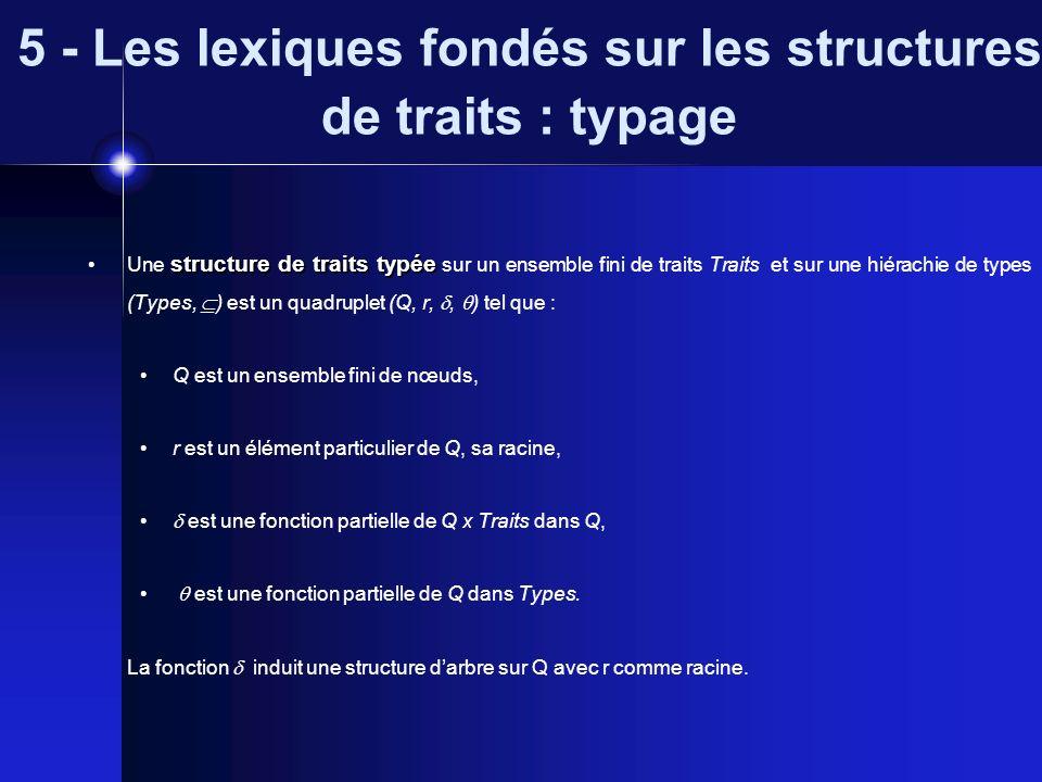 5 - Les lexiques fondés sur les structures de traits : typage structure de traits typée Une structure de traits typée sur un ensemble fini de traits T