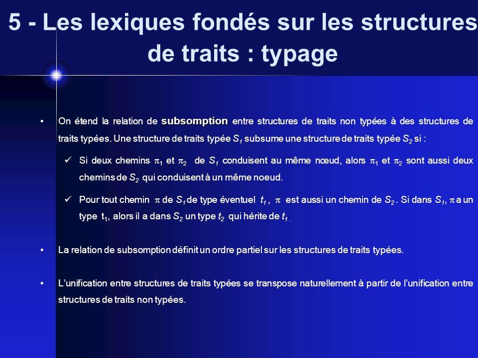 5 - Les lexiques fondés sur les structures de traits : typage subsomption On étend la relation de subsomption entre structures de traits non typées à