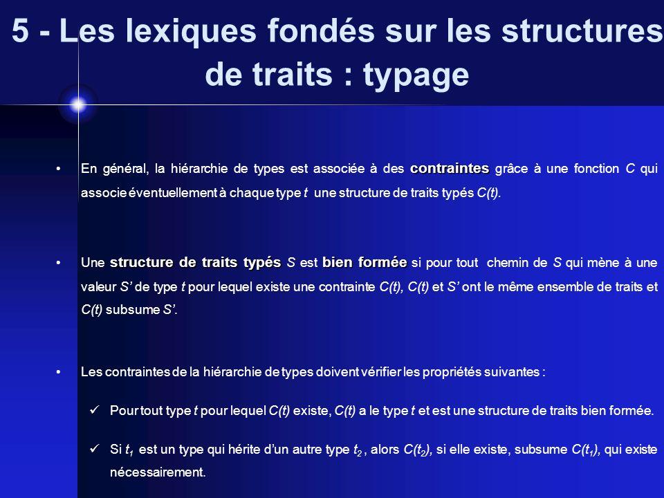 5 - Les lexiques fondés sur les structures de traits : typage contraintes En général, la hiérarchie de types est associée à des contraintes grâce à un