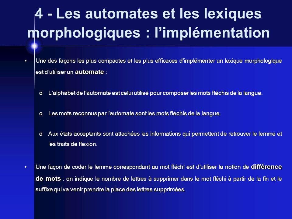 4 - Les automates et les lexiques morphologiques : limplémentation automate Une des façons les plus compactes et les plus efficaces dimplémenter un le