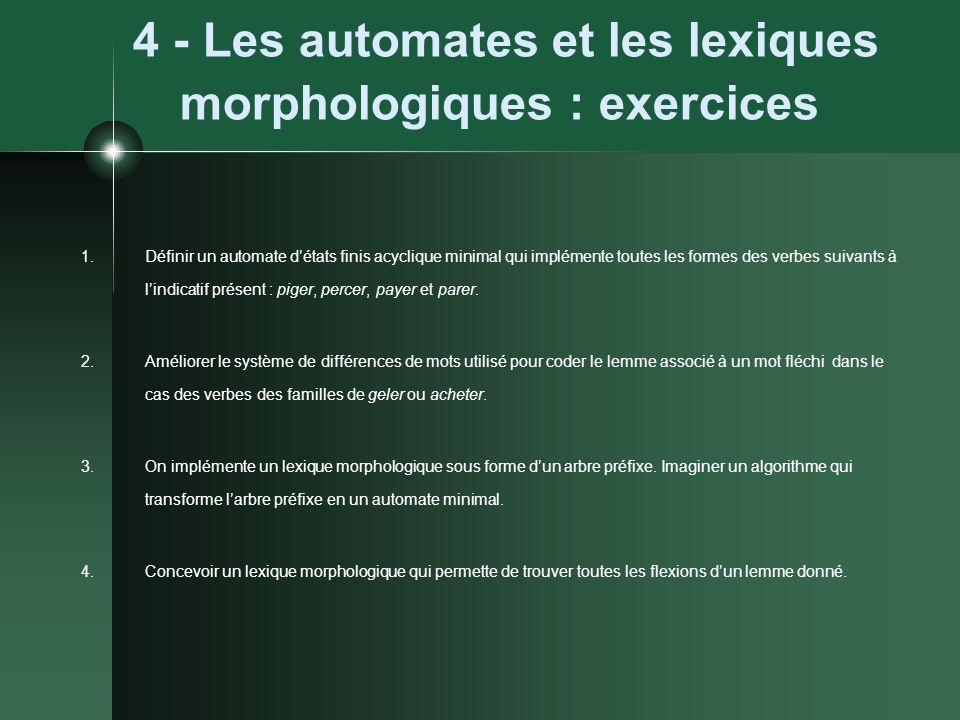 4 - Les automates et les lexiques morphologiques : exercices 1.Définir un automate détats finis acyclique minimal qui implémente toutes les formes des