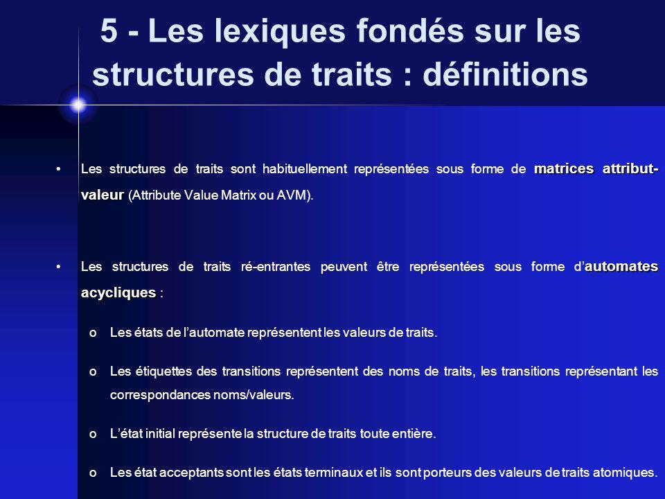 5 - Les lexiques fondés sur les structures de traits : définitions équations de chemins Les structures de traits récursives sans ré-entrance peuvent être représentées sous forme d équations de chemins.