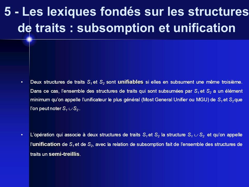 5 - Les lexiques fondés sur les structures de traits : subsomption et unification unifiables Deux structures de traits S 1 et S 2 sont unifiables si e