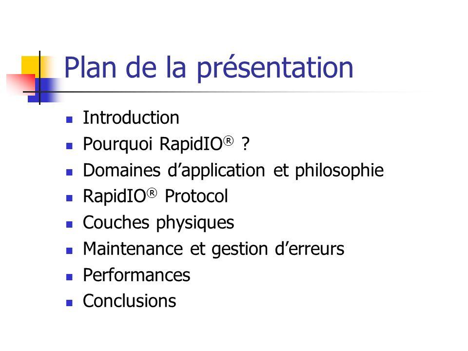 Plan de la présentation Introduction Pourquoi RapidIO ® ? Domaines dapplication et philosophie RapidIO ® Protocol Couches physiques Maintenance et ges
