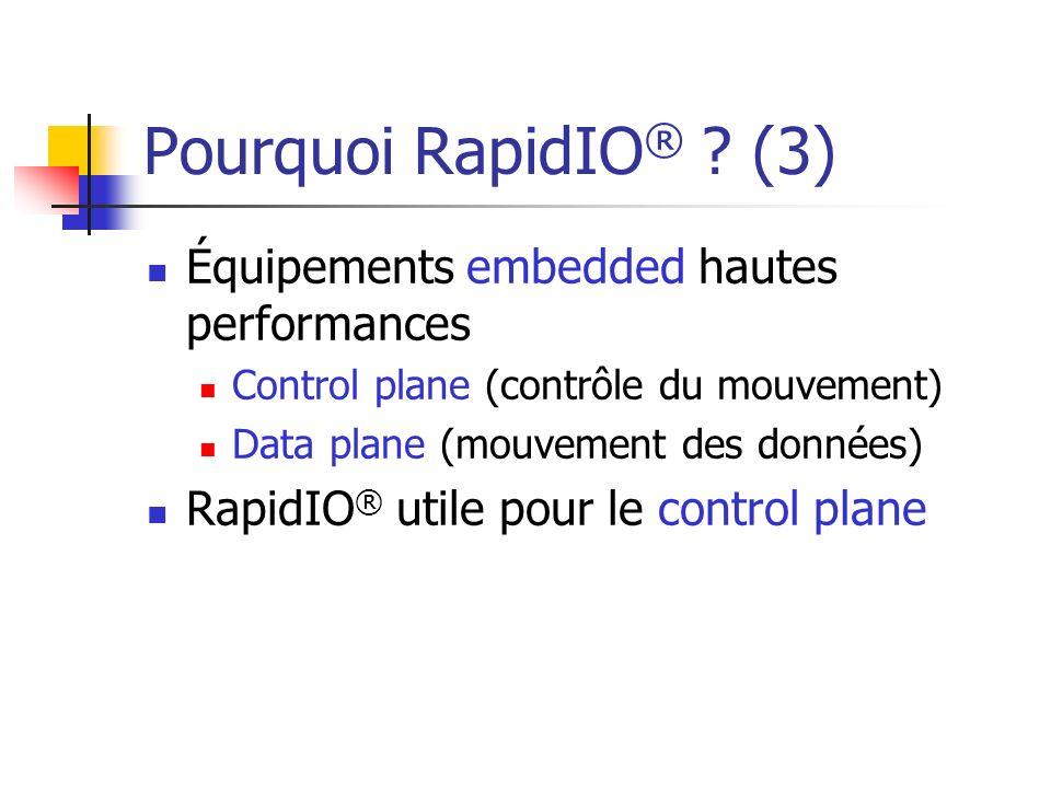 Pourquoi RapidIO ® ? (3) Équipements embedded hautes performances Control plane (contrôle du mouvement) Data plane (mouvement des données) RapidIO ® u
