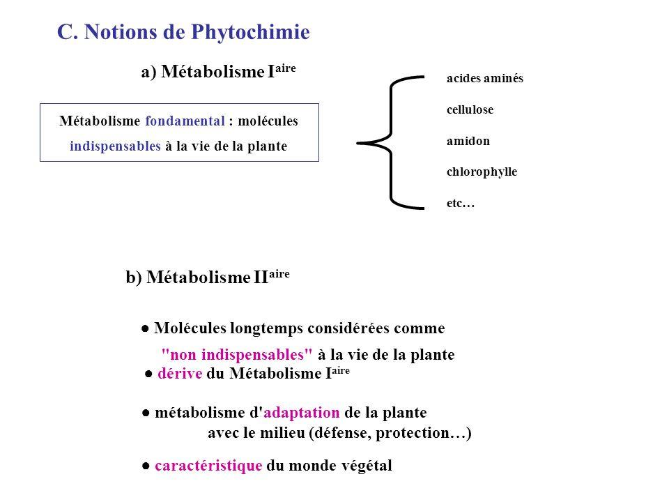 a) Métabolisme I aire acides aminés cellulose amidon chlorophylle etc… Métabolisme fondamental : molécules indispensables à la vie de la plante C.
