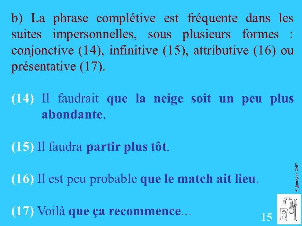 © jpmeyer 2007 b) La phrase complétive est fréquente dans les suites impersonnelles, sous plusieurs formes : conjonctive (14), infinitive (15), attributive (16) ou présentative (17).