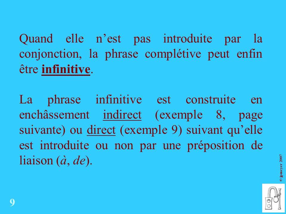 © jpmeyer 2007 Quand elle nest pas introduite par la conjonction, la phrase complétive peut enfin être infinitive.