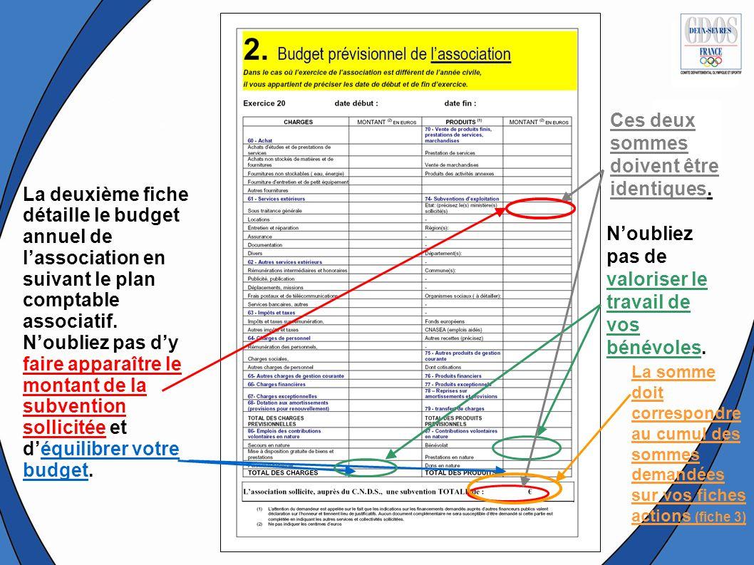 La deuxième fiche détaille le budget annuel de lassociation en suivant le plan comptable associatif. Noubliez pas dy faire apparaître le montant de la