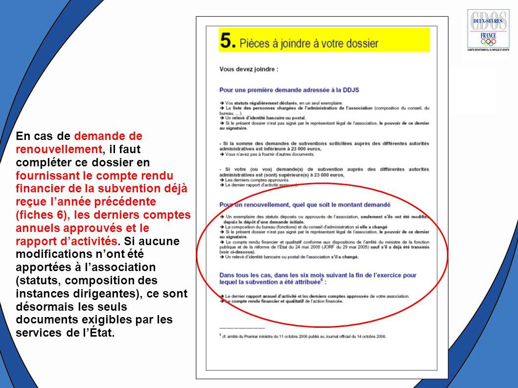 La sixième fiche concerne le compte rendu financier dutilisation de la subvention obtenue en 2007 Dans le cas dune première demande, cette fiche nest pas à remplir.
