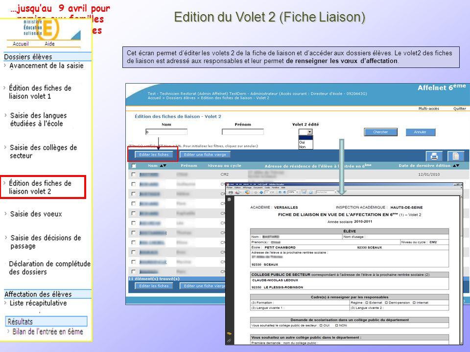 12 Edition du Volet 2 (Fiche Liaison) Cet écran permet déditer les volets 2 de la fiche de liaison et daccéder aux dossiers élèves. Le volet2 des fich