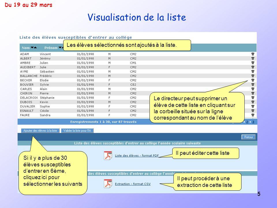 5 Visualisation de la liste Les élèves sélectionnés sont ajoutés à la liste. Il peut éditer cette liste Le directeur peut supprimer un élève de cette