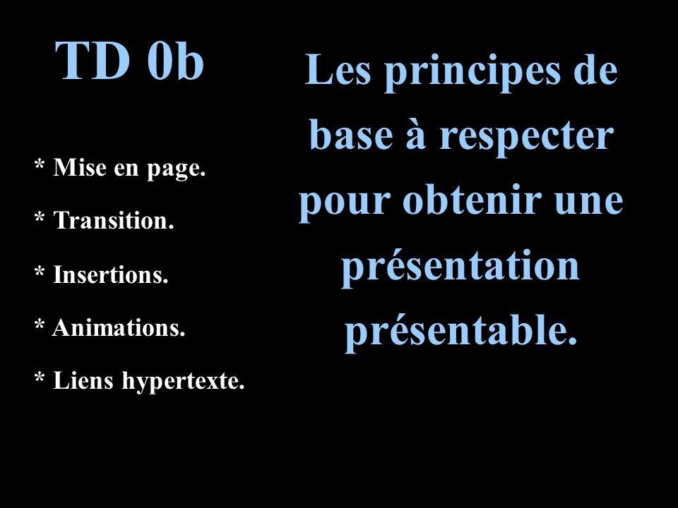 TD 0b Les principes de base à respecter pour obtenir une présentation présentable.