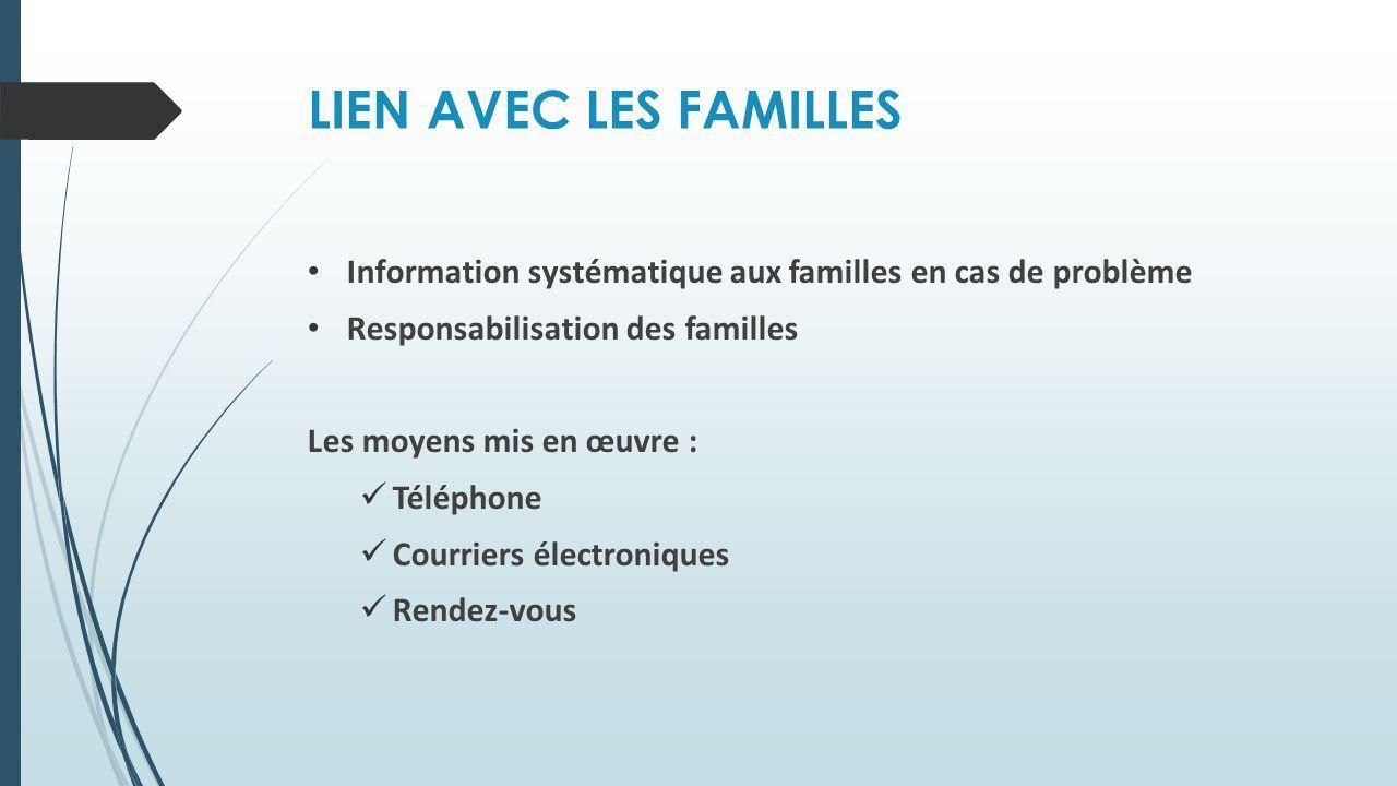 LIEN AVEC LES FAMILLES Information systématique aux familles en cas de problème Responsabilisation des familles Les moyens mis en œuvre : Téléphone Co