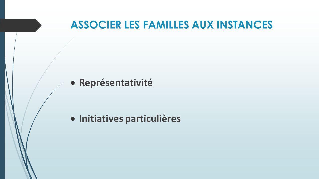 ASSOCIER LES FAMILLES AUX INSTANCES Représentativité Initiatives particulières