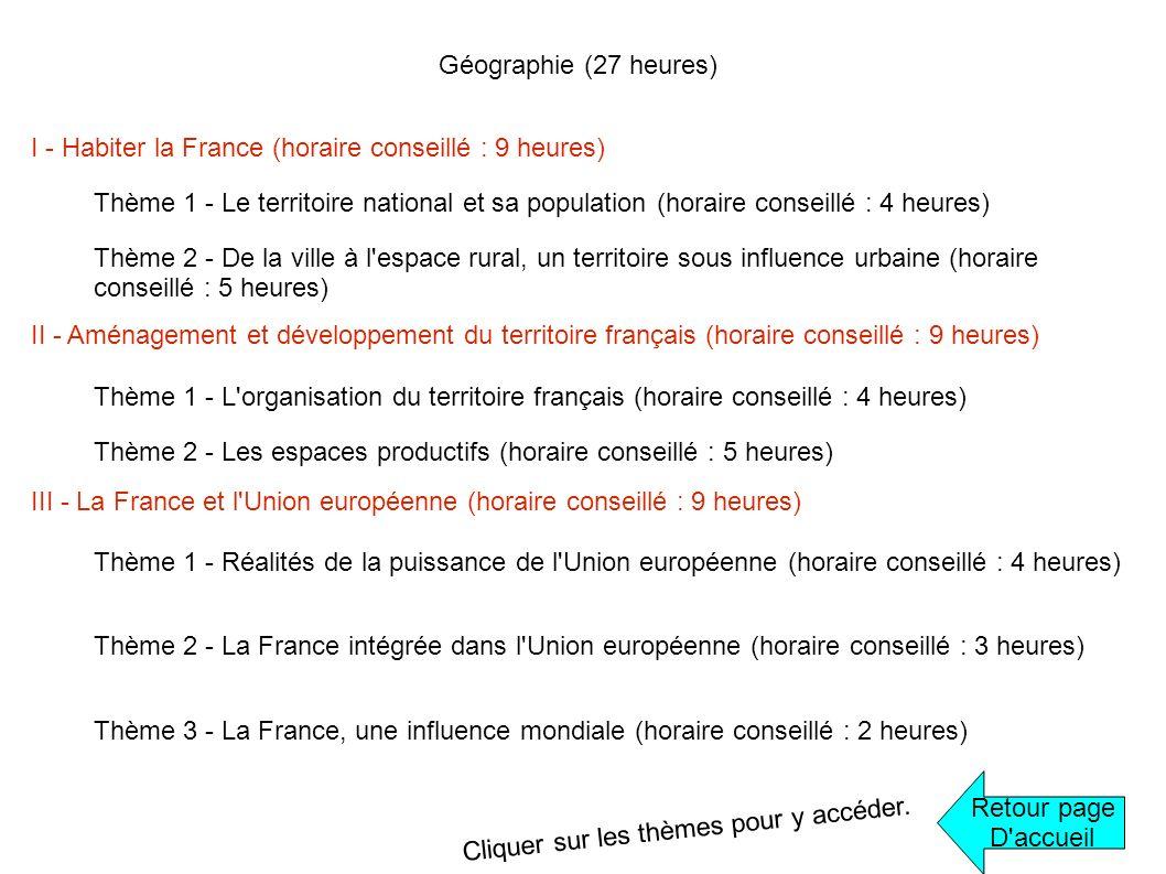 Géographie (27 heures) I - Habiter la France (horaire conseillé : 9 heures) Thème 1 - Le territoire national et sa population (horaire conseillé : 4 h