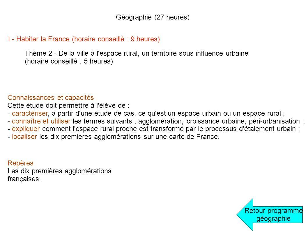 Géographie (27 heures) I - Habiter la France (horaire conseillé : 9 heures) Retour programme géographie Thème 2 - De la ville à l'espace rural, un ter