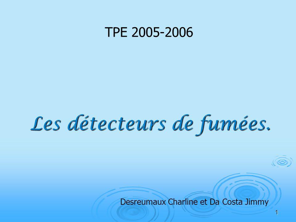 1 Les détecteurs de fumées. TPE 2005-2006 Desreumaux Charline et Da Costa Jimmy