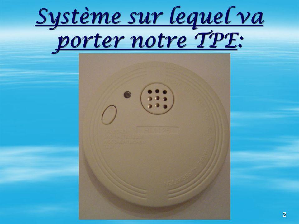 2 Système sur lequel va porter notre TPE: