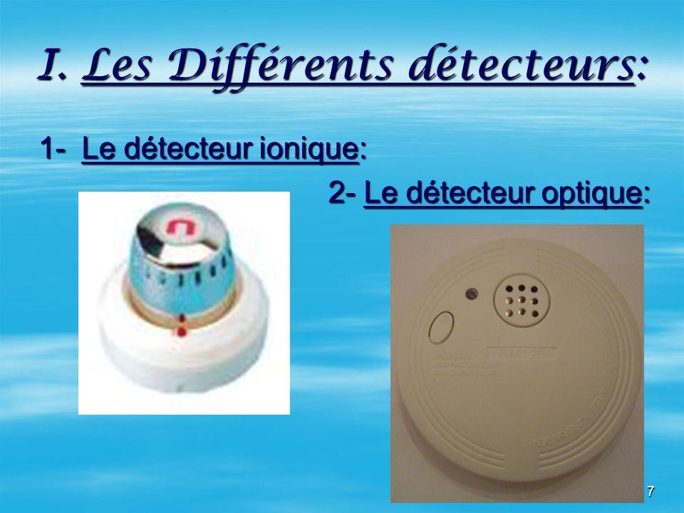 7 I. Les Différents détecteurs: 1- Le détecteur ionique: 1- Le détecteur ionique: 2- Le détecteur optique: 2- Le détecteur optique:
