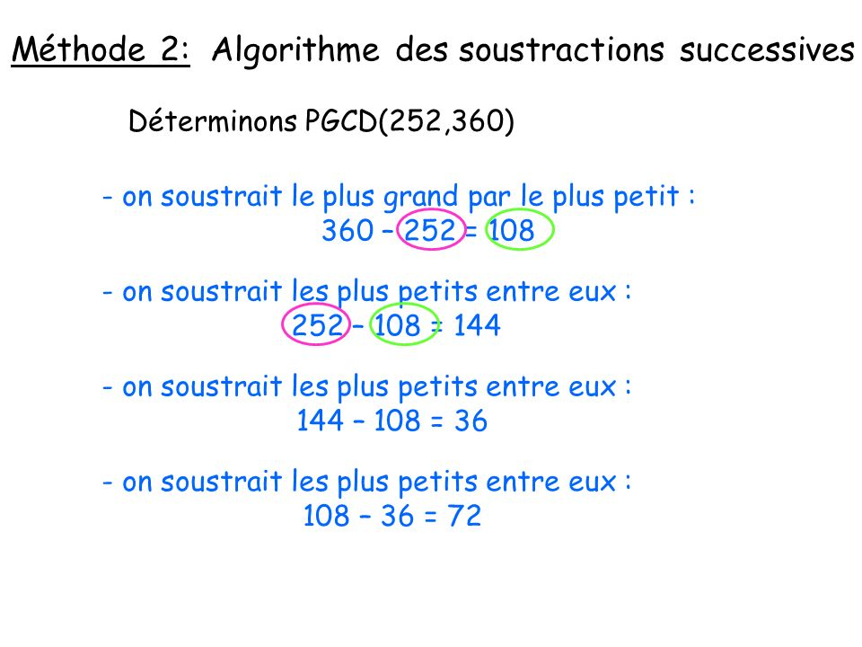 Méthode 2: Algorithme des soustractions successives Déterminons PGCD(252,360) - on soustrait le plus grand par le plus petit : 360 – 252 = 108 - on so