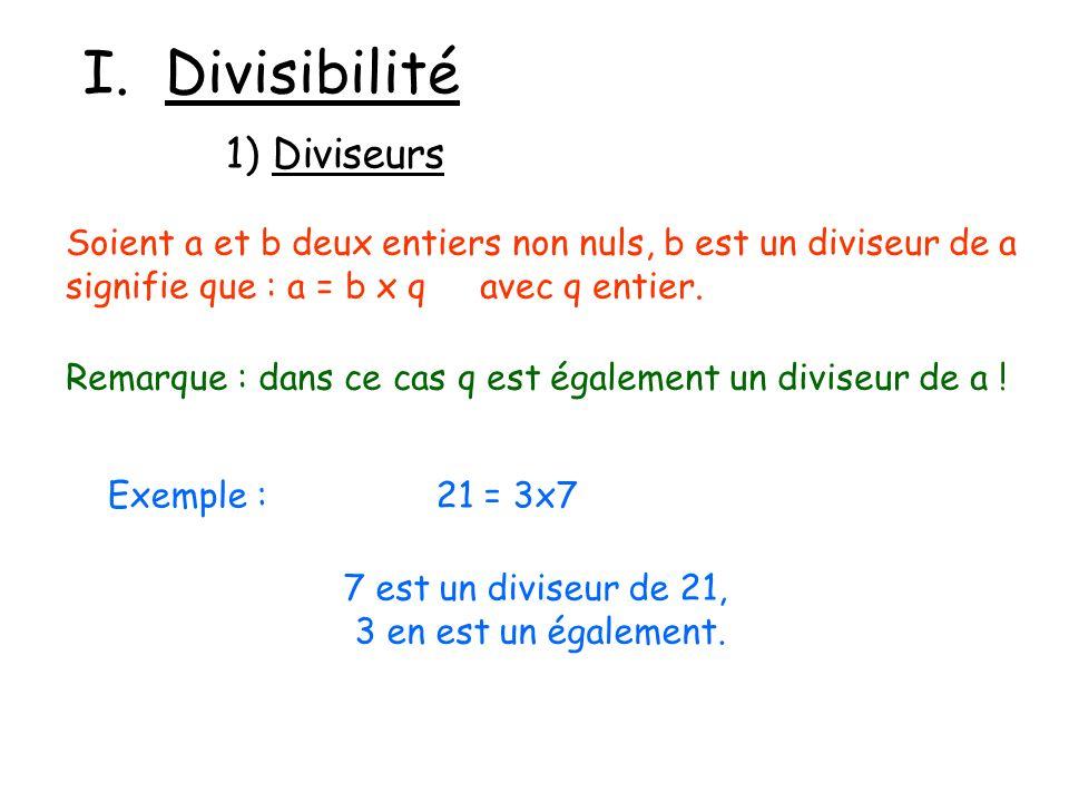 I. Divisibilité 1) Diviseurs Soient a et b deux entiers non nuls, b est un diviseur de a signifie que : a = b x q avec q entier. Remarque : dans ce ca