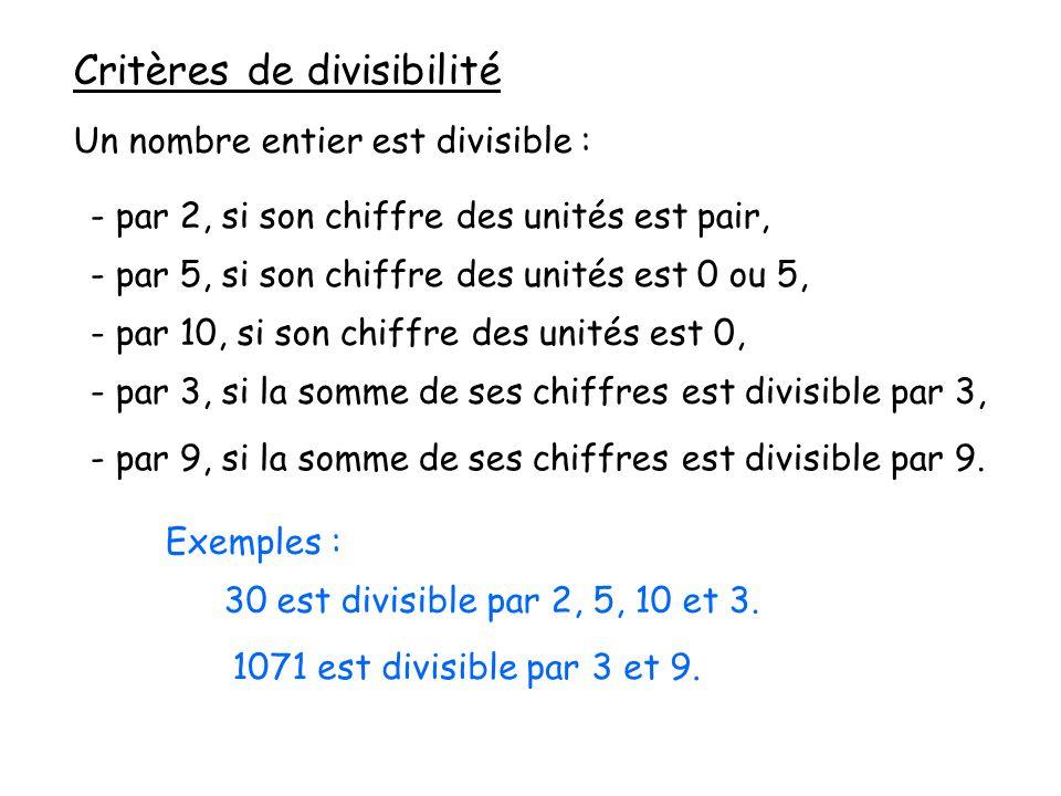 Critères de divisibilité Un nombre entier est divisible : - par 2, si son chiffre des unités est pair, - par 5, si son chiffre des unités est 0 ou 5, - par 10, si son chiffre des unités est 0, - par 3, si la somme de ses chiffres est divisible par 3, - par 9, si la somme de ses chiffres est divisible par 9.