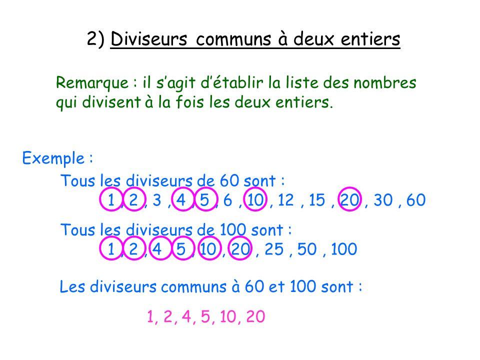2) Diviseurs communs à deux entiers Remarque : il sagit détablir la liste des nombres qui divisent à la fois les deux entiers. Exemple : Tous les divi