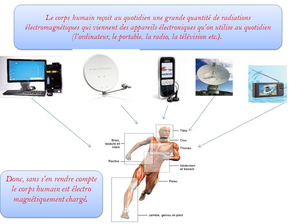 Le corps humain reçoit au quotidien une grande quantité de radiations électromagnétiques qui viennent des appareils électroniques qu'on utilise au quo