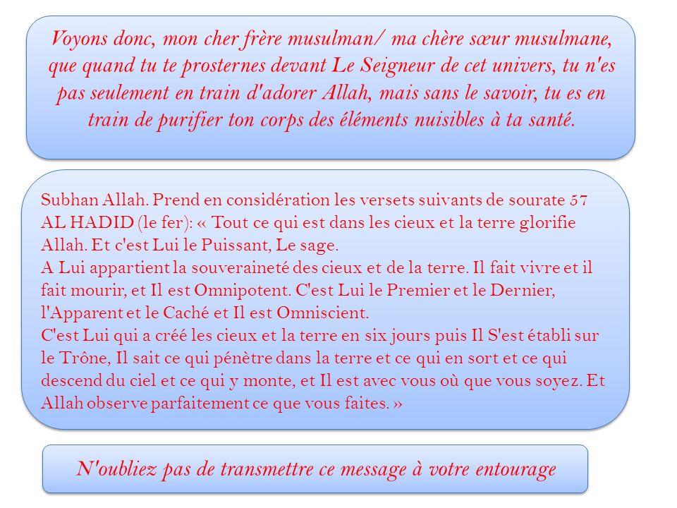 Voyons donc, mon cher frère musulman/ ma chère sœur musulmane, que quand tu te prosternes devant Le Seigneur de cet univers, tu n'es pas seulement en