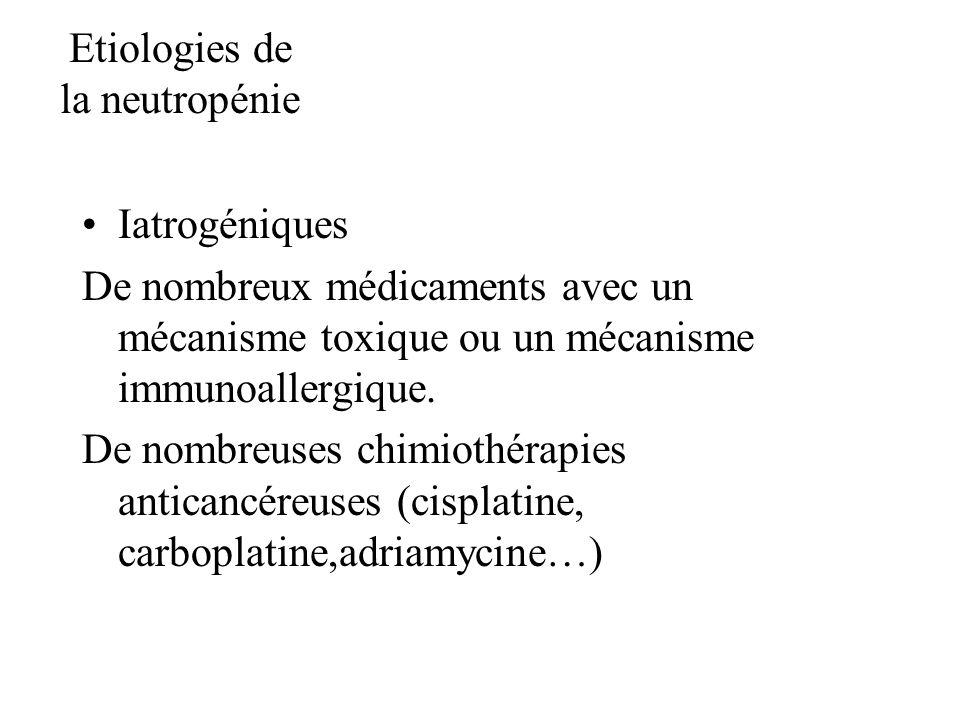 Etiologies de la neutropénie Iatrogéniques De nombreux médicaments avec un mécanisme toxique ou un mécanisme immunoallergique. De nombreuses chimiothé