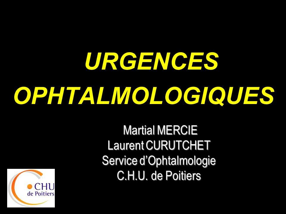 KERATITE SF: –BAV, douleur –Photophobie, blépharospasme –Larmoiements Clinique – ulcération cornéenne fluo +