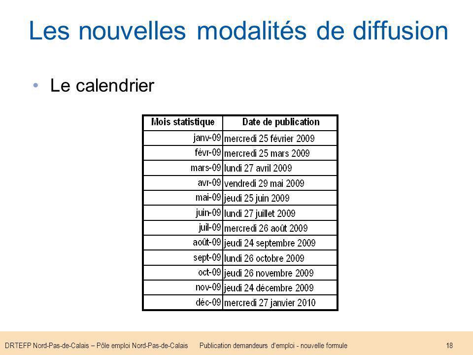 DRTEFP Nord-Pas-de-Calais – Pôle emploi Nord-Pas-de-CalaisPublication demandeurs d emploi - nouvelle formule18 Les nouvelles modalités de diffusion Le calendrier