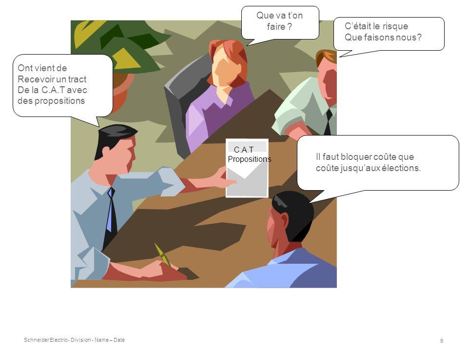 Schneider Electric 9 - Division - Name – Date C.A.T Propositions Ont vient de Recevoir un tract De la C.A.T avec des propositions Que va ton faire ? C