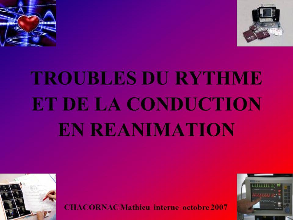 TROUBLES DU RYTHME ET DE LA CONDUCTION EN REANIMATION CHACORNAC Mathieu interne octobre 2007