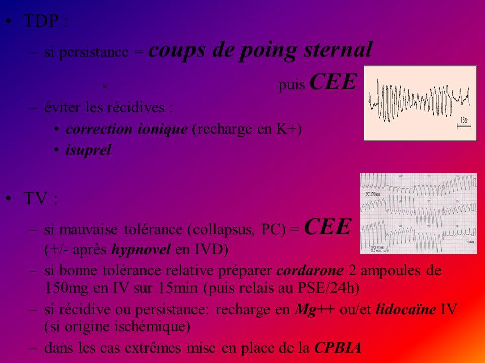 TDP : –si persistance = coups de poing sternal » puis CEE –éviter les récidives : correction ionique (recharge en K+) isuprel TV : –si mauvaise toléra