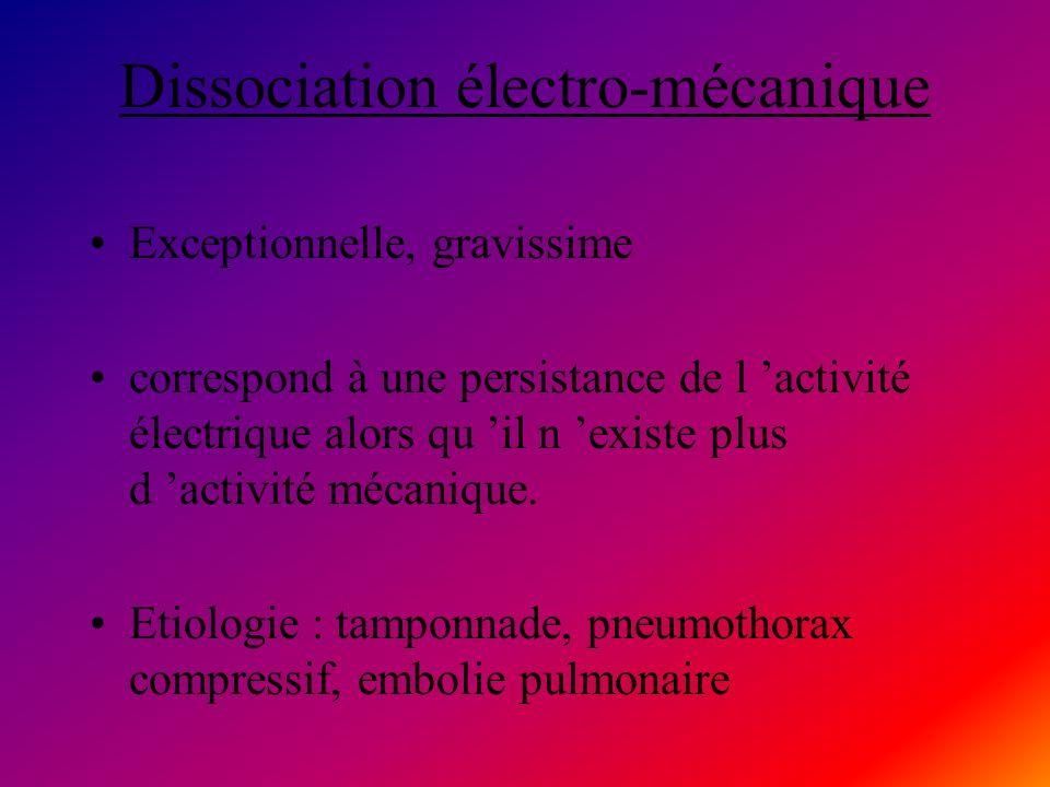Dissociation électro-mécanique Exceptionnelle, gravissime correspond à une persistance de l activité électrique alors qu il n existe plus d activité m