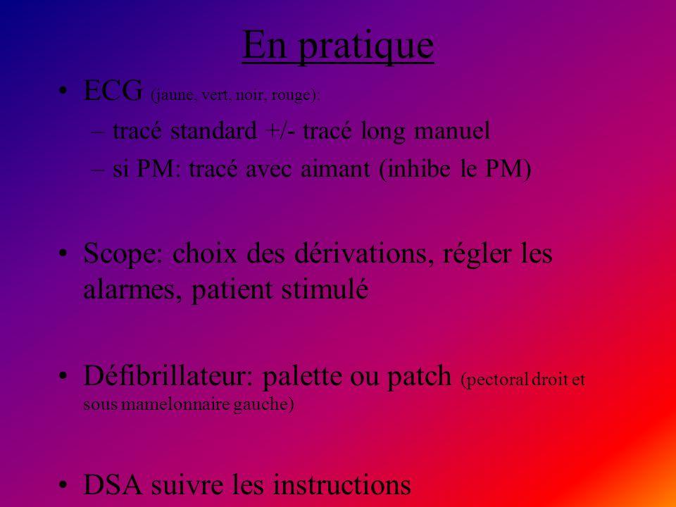En pratique ECG (jaune, vert, noir, rouge): –tracé standard +/- tracé long manuel –si PM: tracé avec aimant (inhibe le PM) Scope: choix des dérivation