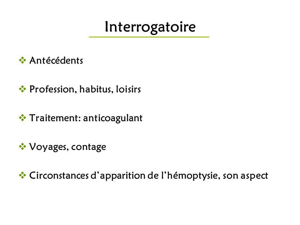 Interrogatoire Antécédents Profession, habitus, loisirs Traitement: anticoagulant Voyages, contage Circonstances dapparition de lhémoptysie, son aspec