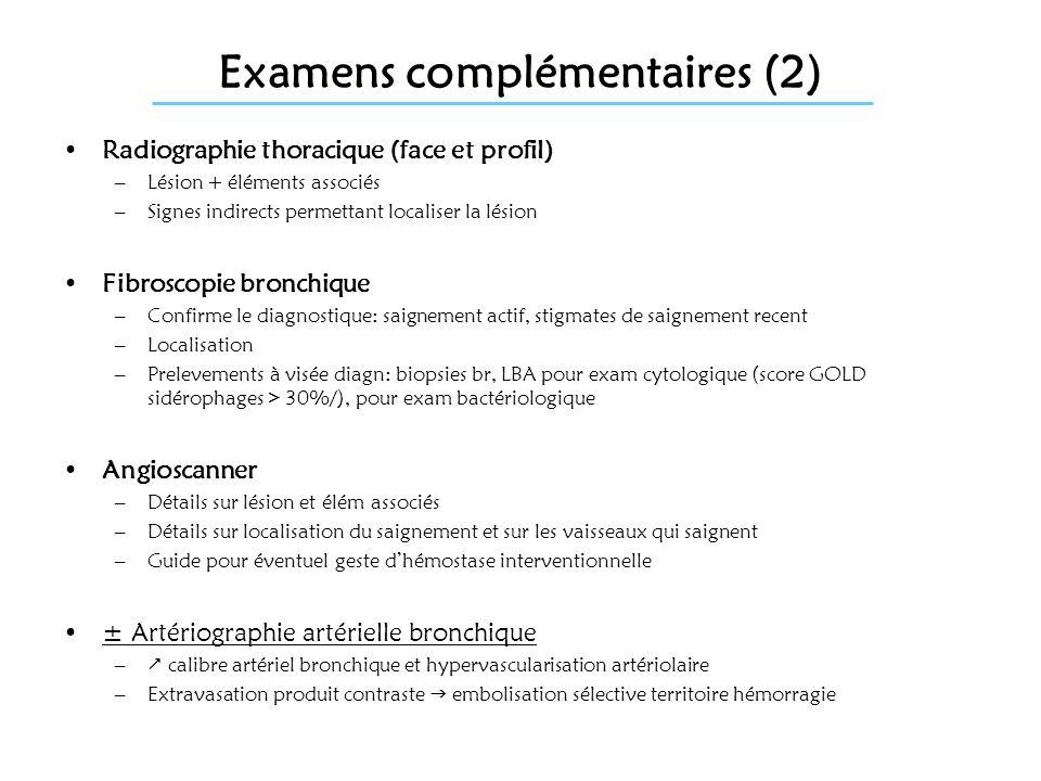 Examens complémentaires (2) Radiographie thoracique (face et profil) –Lésion + éléments associés –Signes indirects permettant localiser la lésion Fibr