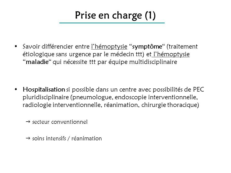 Prise en charge (1) Savoir différencier entre lhémoptysie symptôme (traitement étiologique sans urgence par le médecin ttt) et lhémoptysiemaladie qui