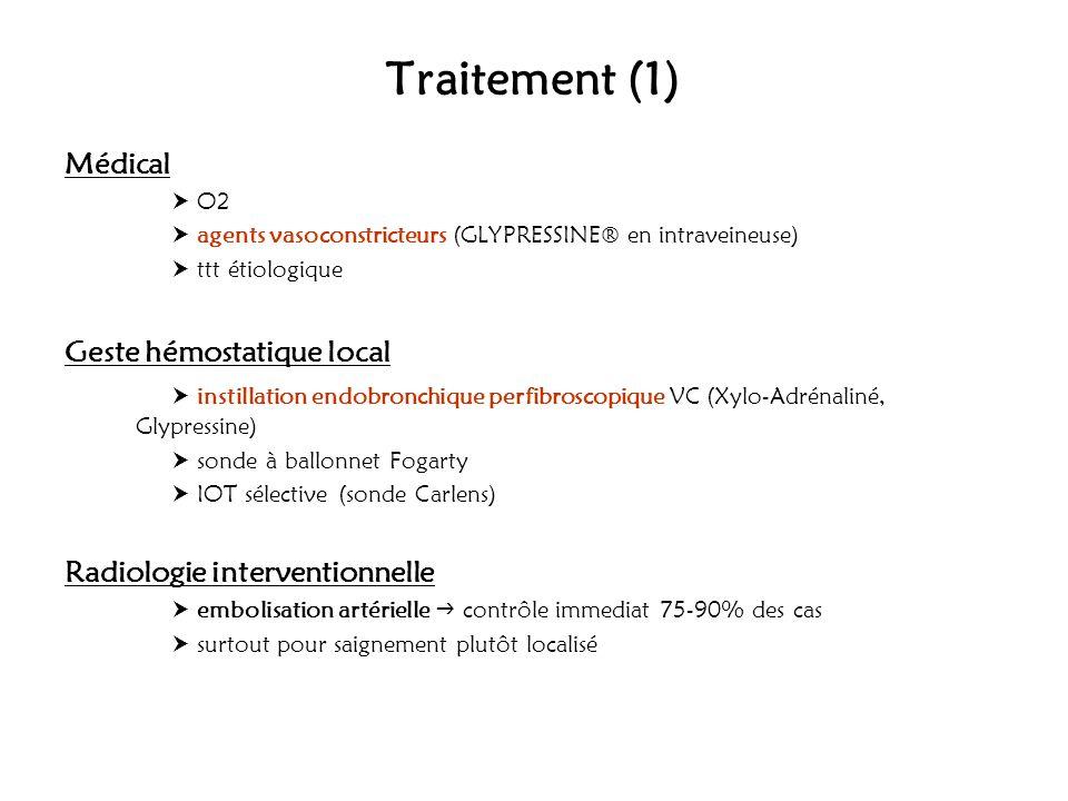 Traitement (1) Médical O2 agents vasoconstricteurs (GLYPRESSINE® en intraveineuse) ttt étiologique Geste hémostatique local instillation endobronchiqu